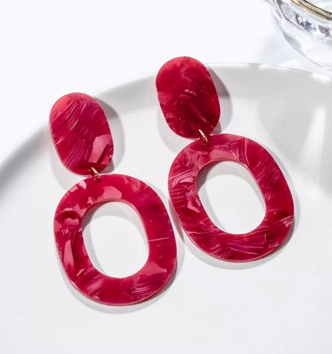 Acrylic Red Earrings