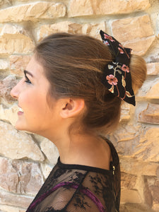 Black Embroidered Hair Bow - thatboholife