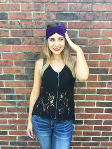 Velvet Turban Headband/Purple - thatboholife