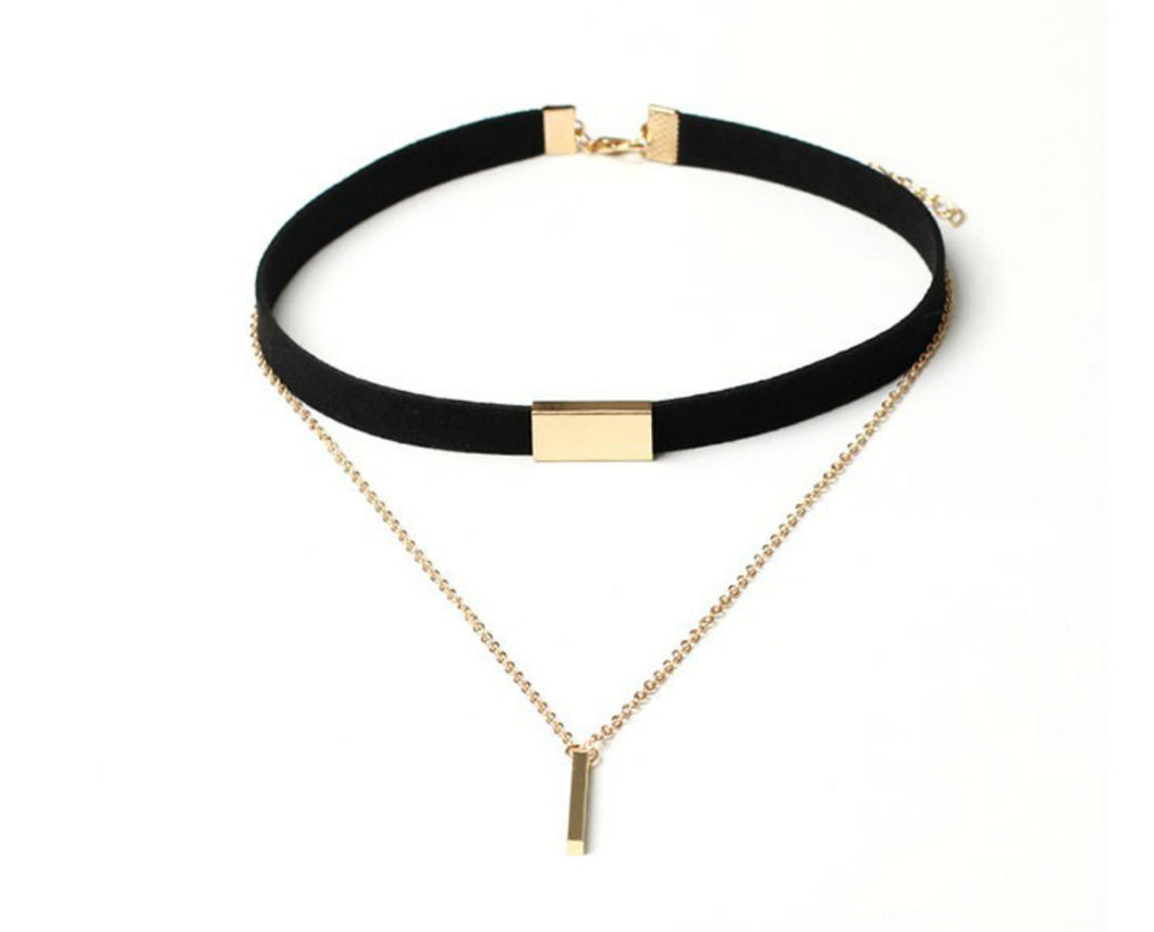 black gold bar choker
