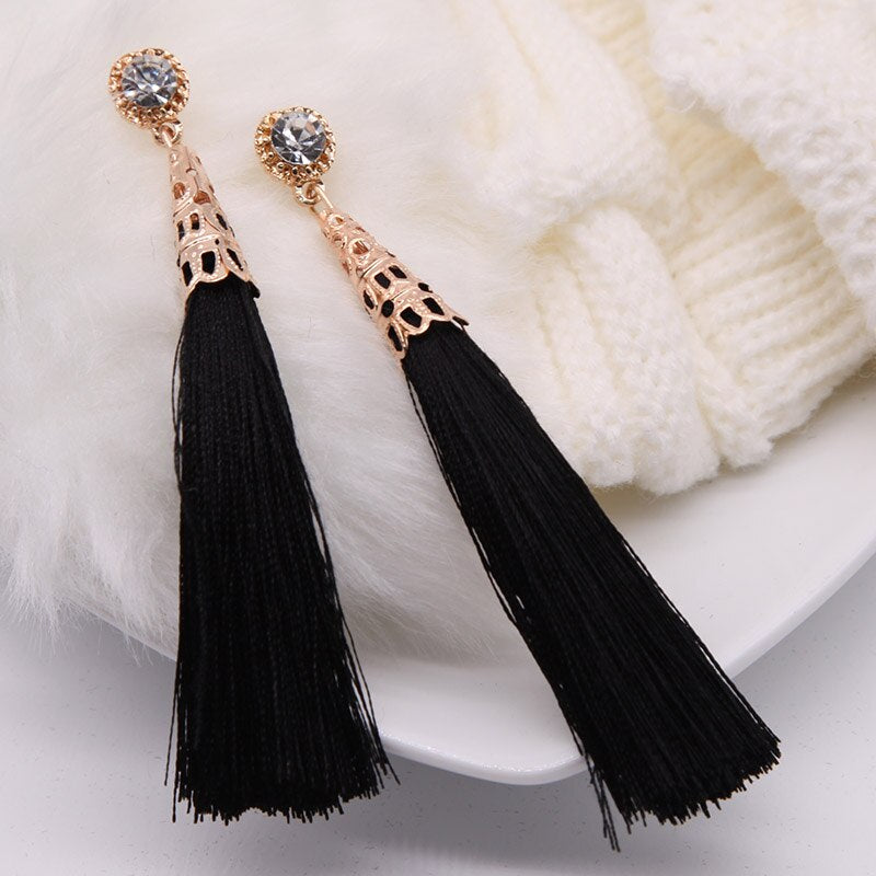 Tassel Earrings Black - thatboholife