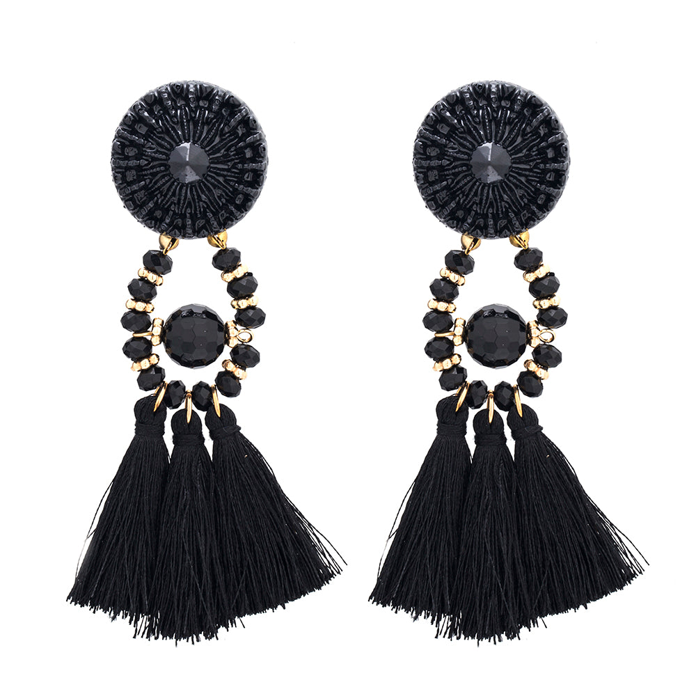 Black Tassel Earrings - thatboholife