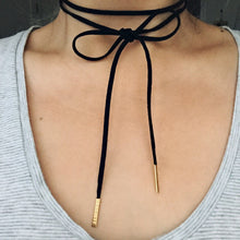 Grey Leather Strap Necklace