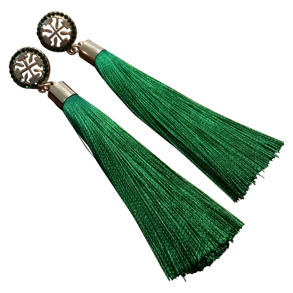 Green Tassel Earrings - thatboholife