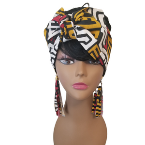 Ankara Headwrap and Earring Set