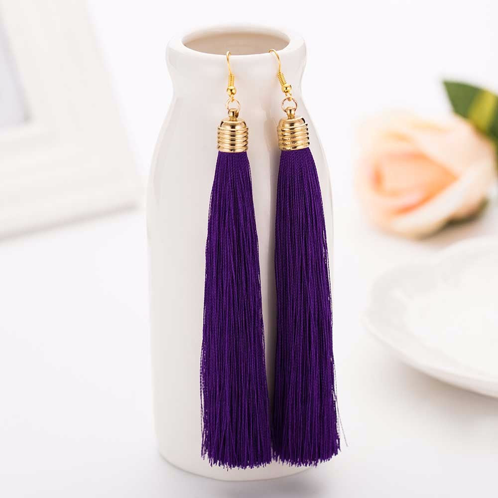 Purple Tassel Earrings - thatboholife