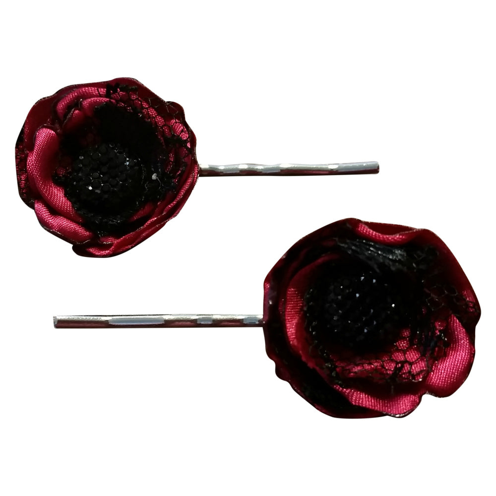 Red and Black Hair Pins - thatboholife