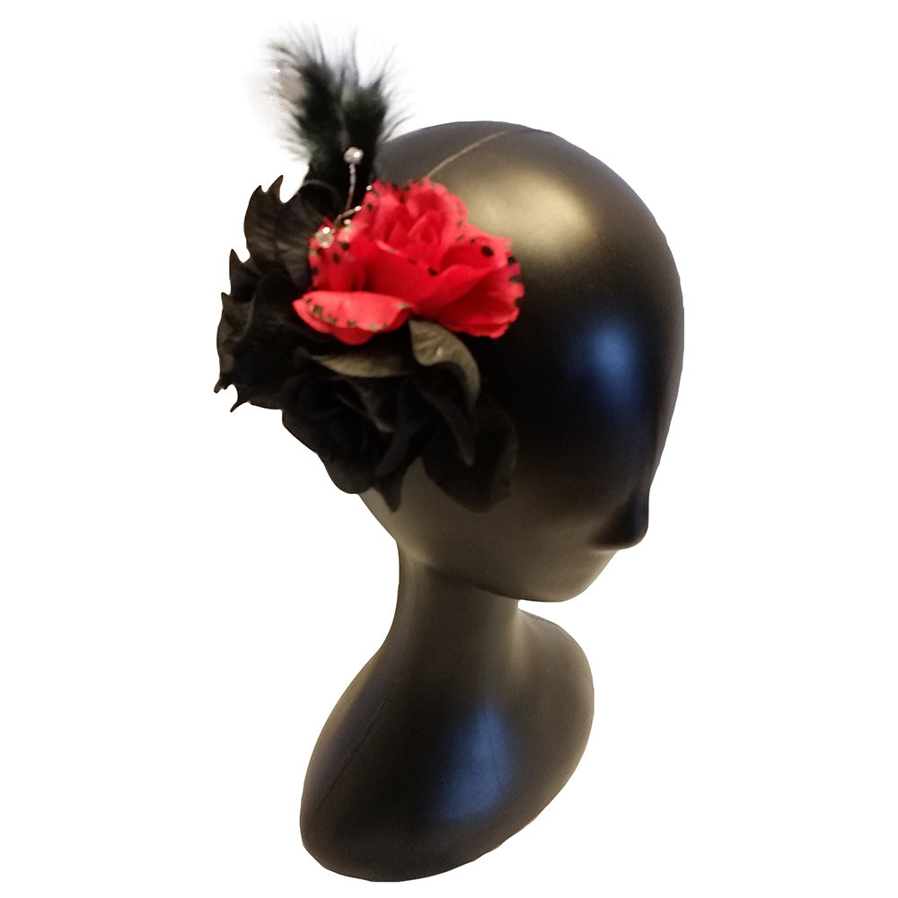 Feather Hair Fascinator Red/Black - thatboholife