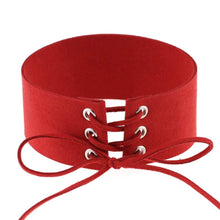 Lace up Red Choker - thatboholife