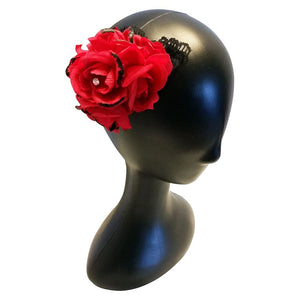 Satin Red Rose w/ Lace - thatboholife