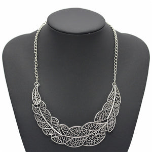 Silver Leaf Necklace - thatboholife