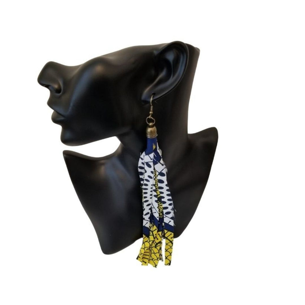 Ankara Fringed Tassel Earrings