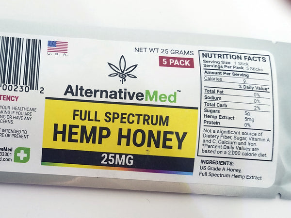AlternativeMed™ Hemp Honey Sticks: Raw, Organic, and Full Spectrum