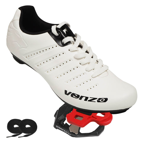 Venzo Bicycle Men's Lace Road Cycling Shoes With Venzo KEO Pedals Cheats
