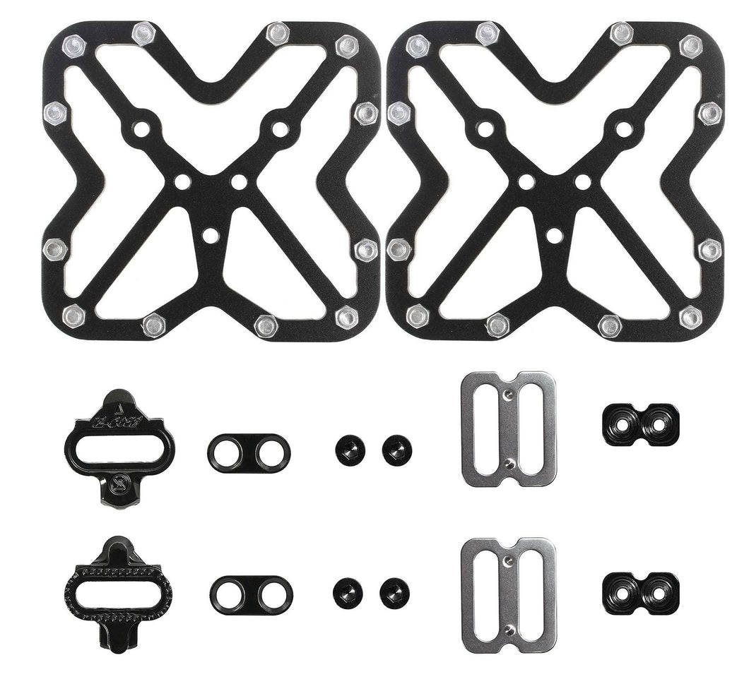 Cyclingdeal Shimano Compatible SPD Bicycle Cleats with Clipless Pedal Platform Adaptors