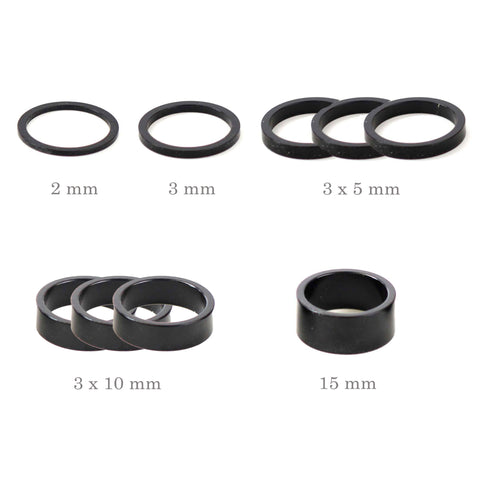 "Alloy Bike 1-1/8"" Stem Headset Spacer 1 x 2mm 1 x 3mm 3 x 5mm 3 x 10mm 1 x 15mm"