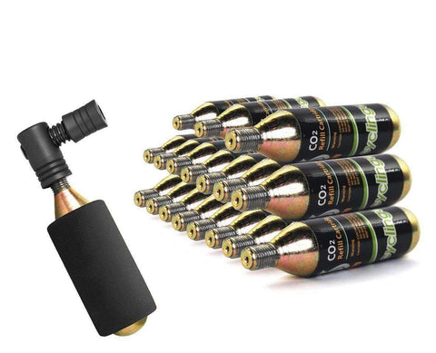 19 x Bike Bicycle Air Pump Inflator 16g CO2 Threaded Cartridges & Pump