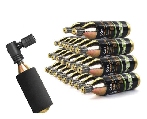 24 x Bike Bicycle Air Pump Inflator 16g CO2 Threaded Cartridges & Pump