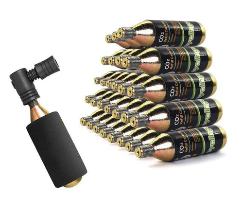 29 x Bike Bicycle Air Pump Inflator 16g CO2 Threaded Cartridges & Pump