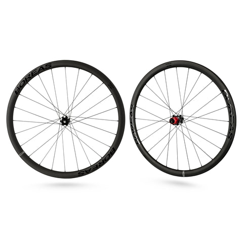 CyclingDeal BOREAS Carbon Fiber Road Bike Wheels 700C - Clincher - Centerlock Disc Brake Wheelset 35mm Compatible with Shimano 11 Speed 12x142 12x100 - Super light 1595g / 3.51lbs