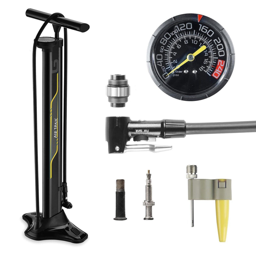 GIYO High Pressure Gauge Floor Pump 260 PSI with Reserve Tank for Tubeless Tire