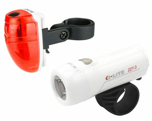Q-lite Bike Bicycle Front and Rear 3 LED Lights Kit with Battery White