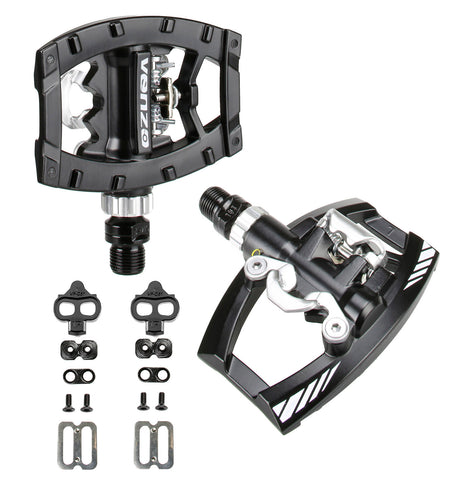 "Venzo Dual Function Platform Shimano SPD Compatible  9/16"" Clipless Pedals Black with Cleats"