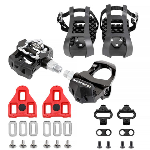 "VENZO Compatible With Peloton -3 in 1- Look Delta, Toe Cage, SPD - Indoor Bike Pedals - Fitness Exercise Indoor Cycling Pedals compatible with Shimano SPD,Toe Clip & Delta  -  9/16"" Thread"