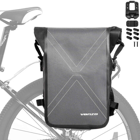 VENZO Bike Bicycle MTB 600D Polyester Quick Release Clip-on Waterproof 9.6L Backpack Rear Rack Pannier Bag with Slide2go Quick Mounting System