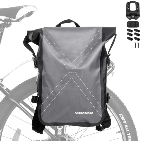 VENZO Bike Bicycle MTB 210D Polyester Quick Release Clip-on Waterproof 9.6L Backpack Rear Rack Pannier Bag with Slide2go Quick Mounting System