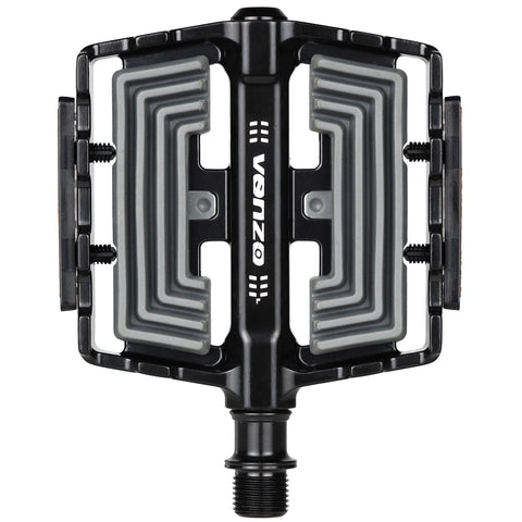 "VENZO Flat Mountain BMX MTB Aluminum Bike Sealed Bearing Pedals - Large Bicycle Platform Pedals 9/16"" with Anti-Skid Anti-Slip - Comfort"