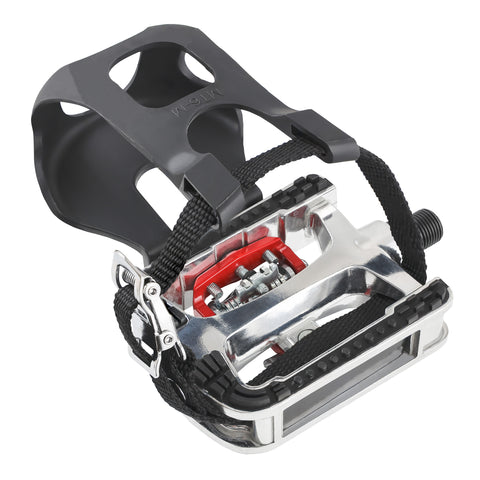 CyclingDeal Fitness Exercise Indoor Bike Pedals with Toe Clips & Straps Compatible With Shimano SPD Cleats