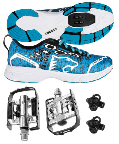 Venzo MTB Shimano SPD Shoes Blue + Wellgo C002 Multi Pedals MMTB-BL