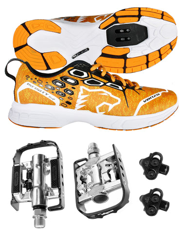 Venzo MTB Shimano SPD Shoes Orange + Wellgo C002 Multi Pedals MMTB-OR