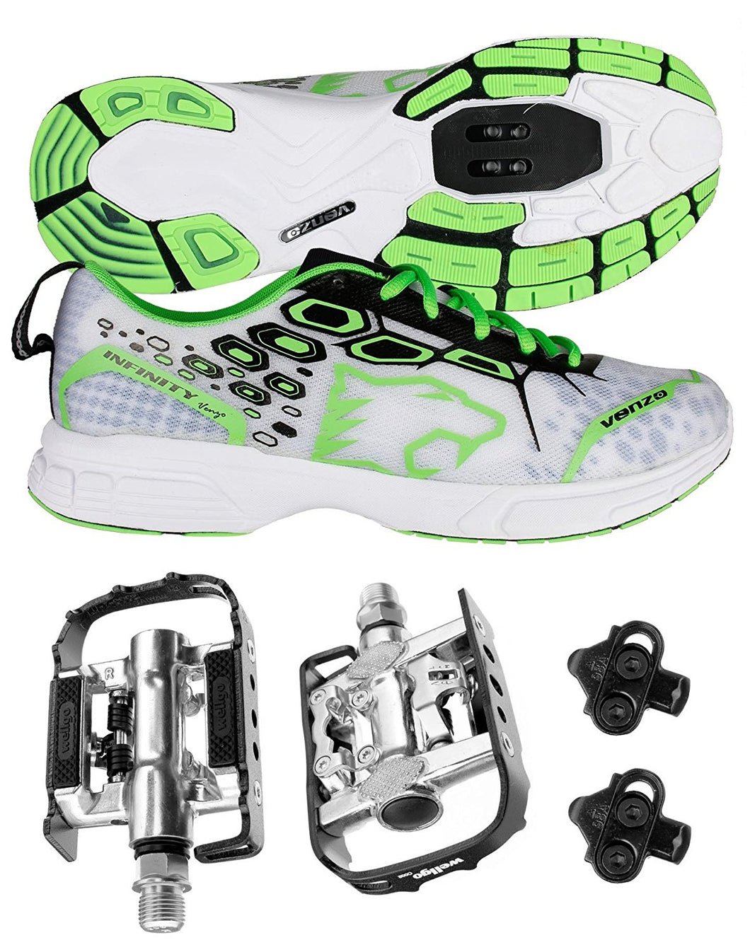 Venzo MTB Shimano SPD Shoes Green + Wellgo C002 Multi Pedals SMTB-GR