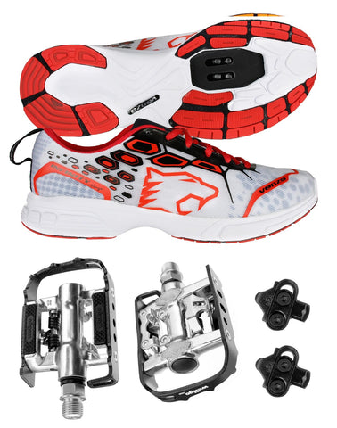 Venzo MTB Shimano SPD Shoes Red + Wellgo C002 Multi Pedals SMTB-RE
