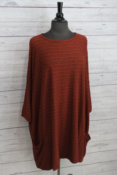 Cut Loose Striped Crimped Fabric - One Size Pullover 7 Colors