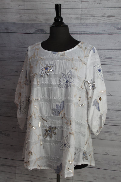 Yushi Clothing - White Dressy Pullover Top