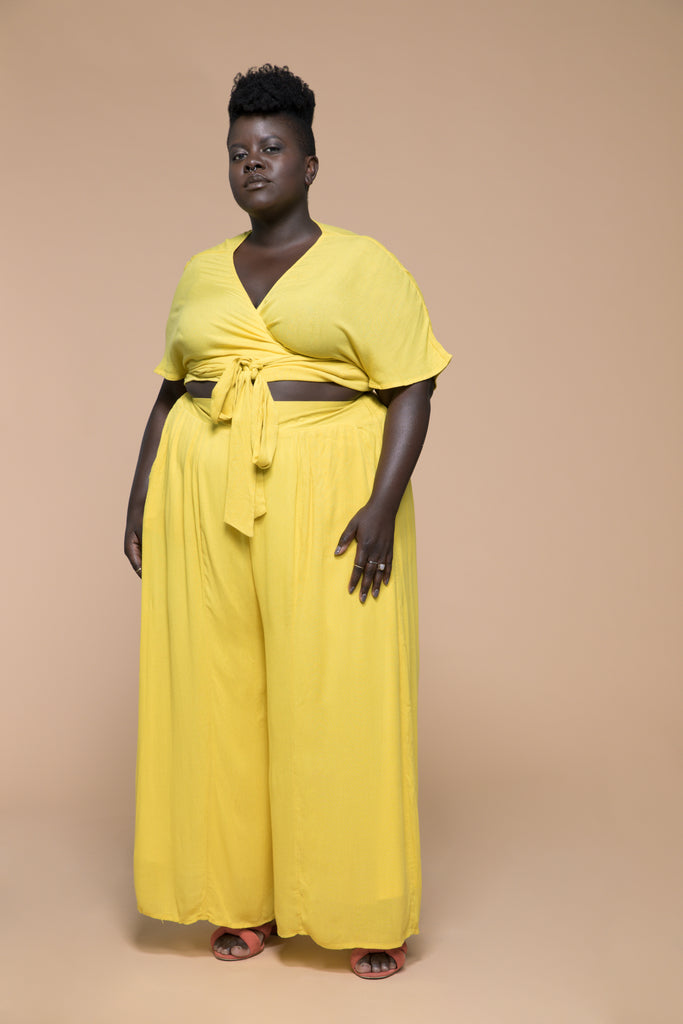 premme.us premme plus size fashion marissa matching set co-ord wrap top pants yellow size 18 20
