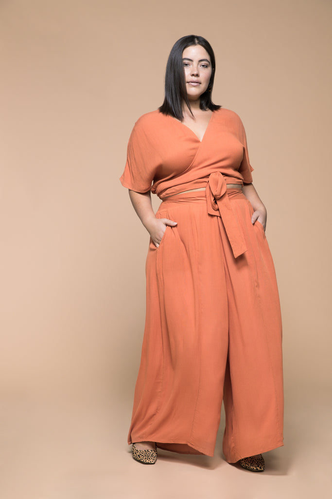 premme.us premme plus size fashion marissa matching set co-ord wrap top pants pumpkin size 14 16