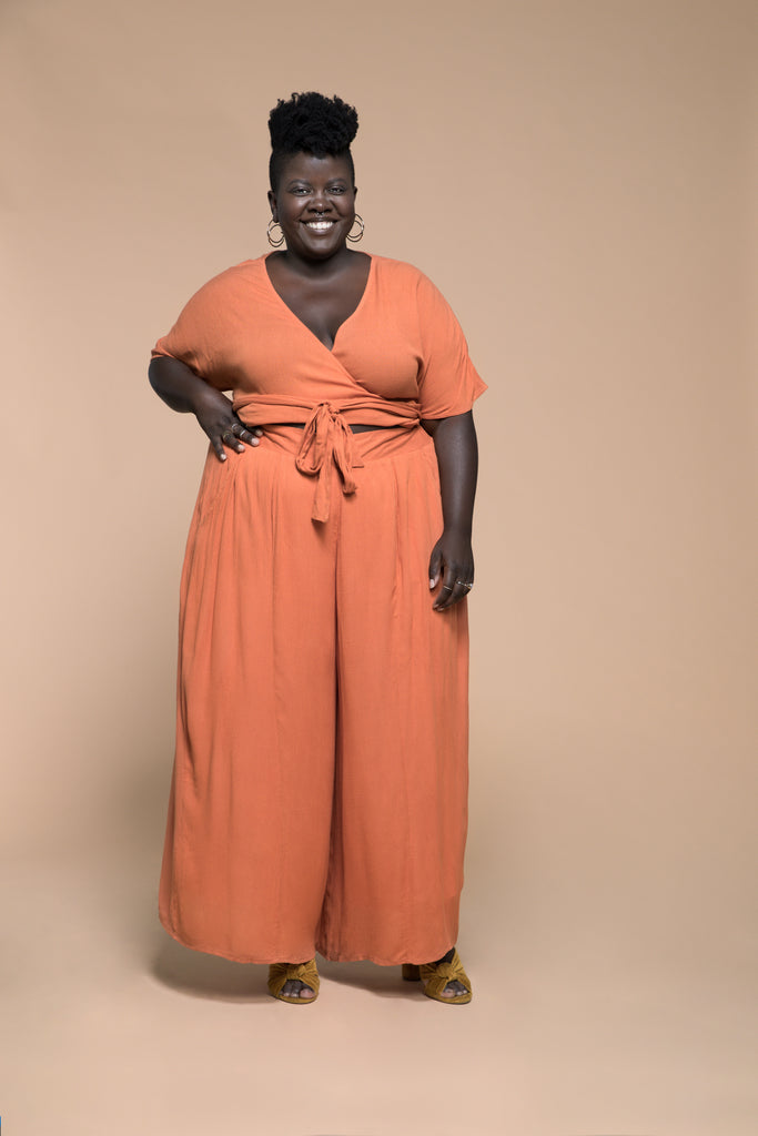 premme.us premme plus size fashion marissa matching set co-ord wrap top pants pumpkin size 18 20