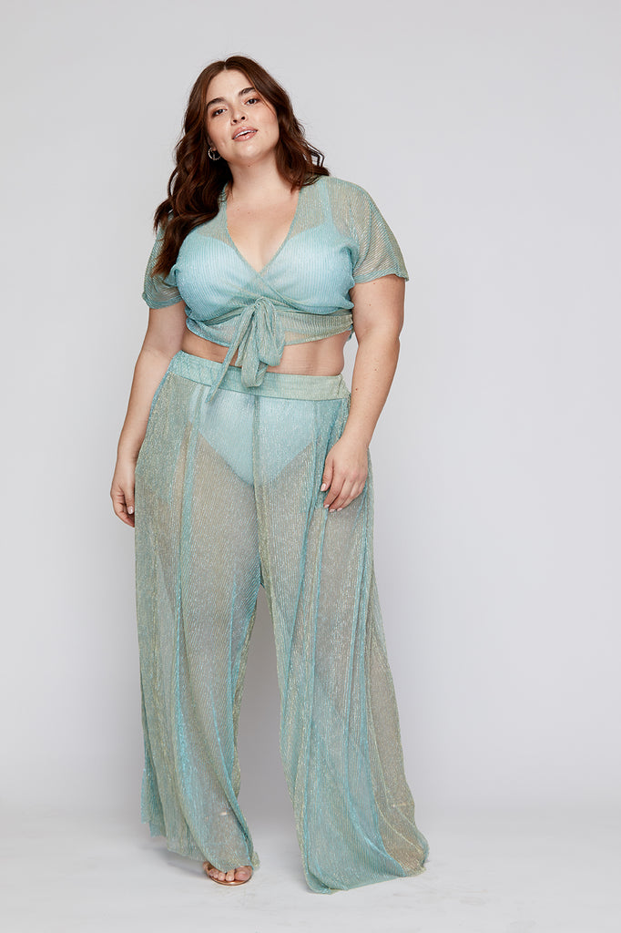 Metallic Seafoam Bianca Pant - FINAL SALE