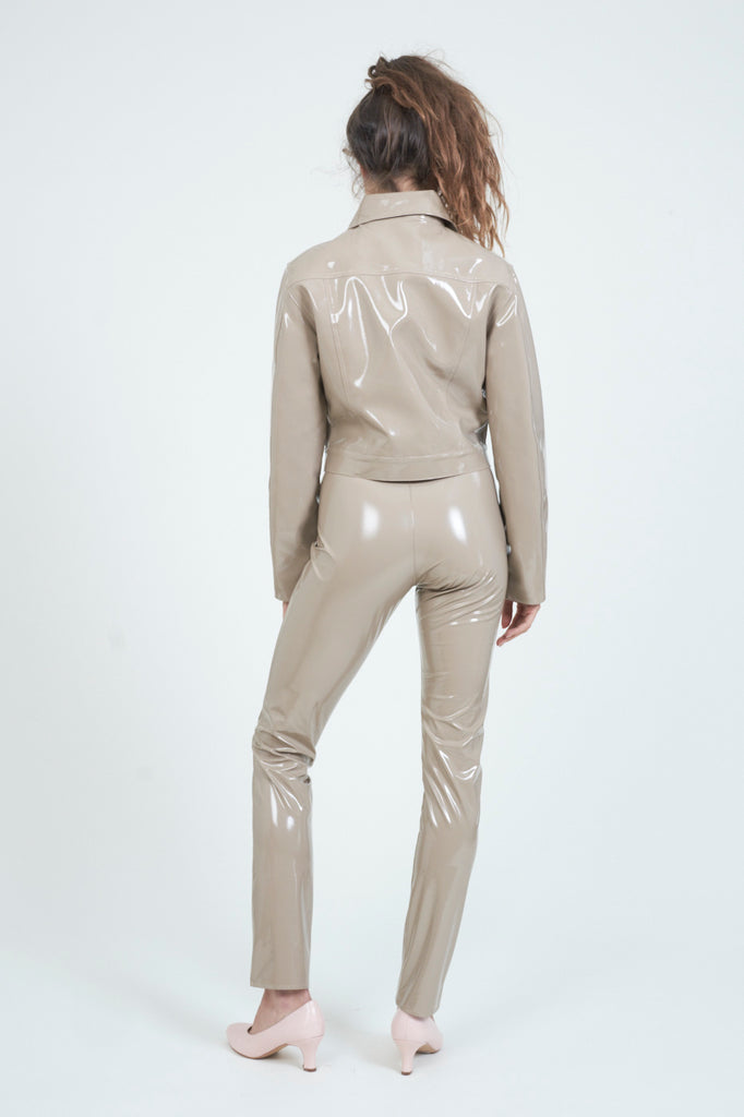 The High Waist Taupe PVC Pant