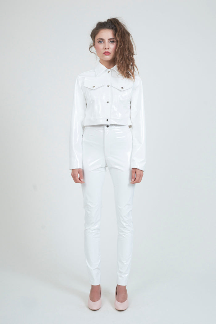 The White PVC Trucker Jacket
