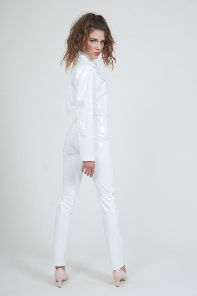 The High Waist White PVC Pant