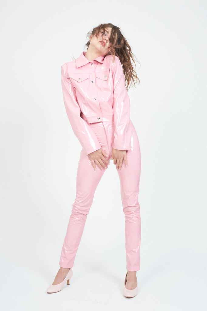 The Pink PVC Trucker Jacket