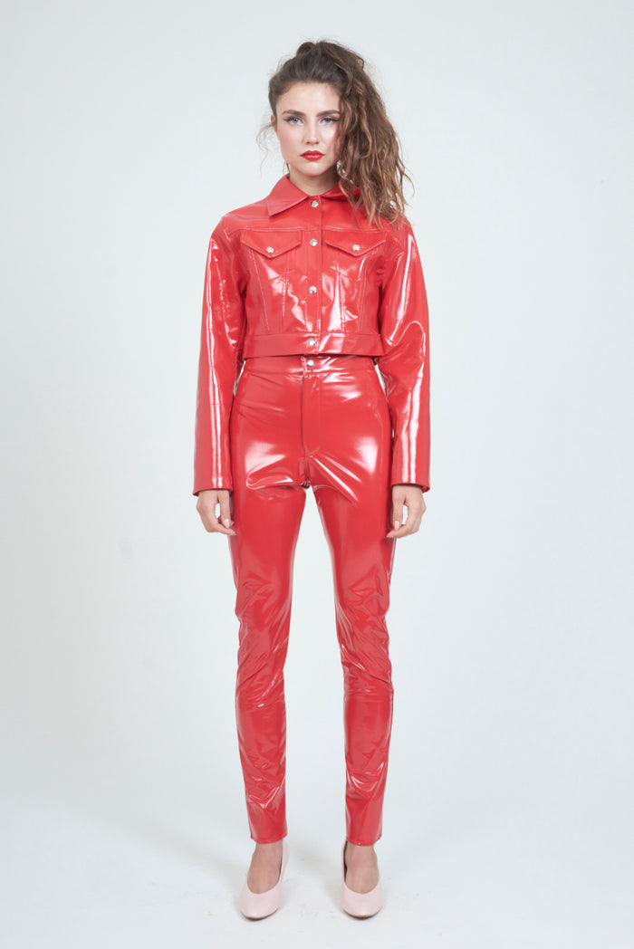 The Red PVC Trucker Jacket