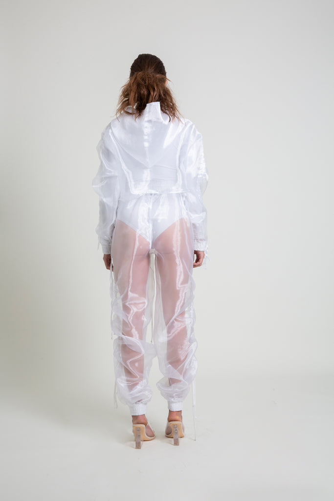 The Ruched Sleeve Organza Cropped Hoodie