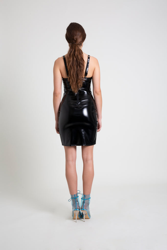 The Black PVC Mini Dress