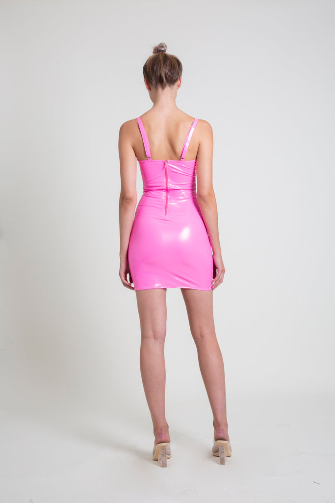 8558f901a085 The Hot Pink PVC Mini Dress – L.A. Roxx